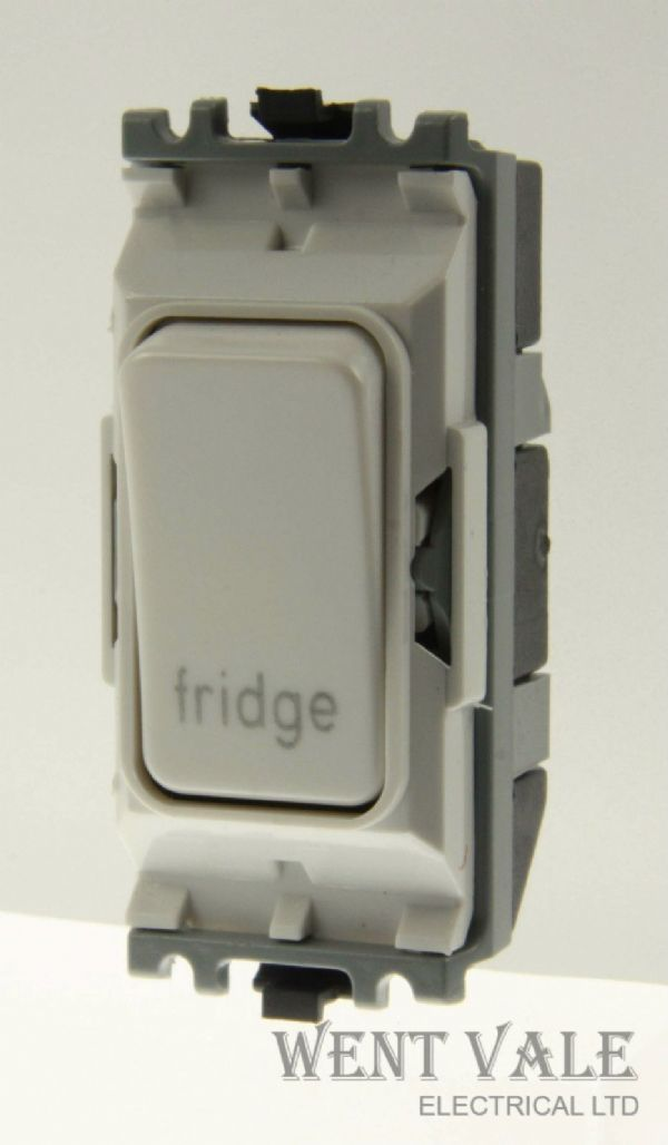 MK Grid Plus - K4896FG WHI - 20a Double Pole Switch Module Marked Fridge New
